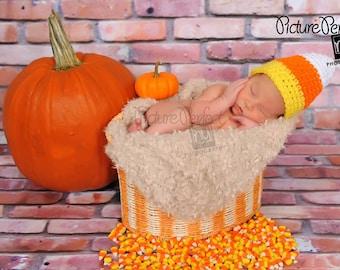 Candy Corn Hat Crochet Photography Prop Sizes Newborn, 0-3 months, 3-6 months