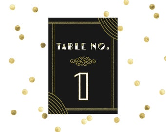Art Deco Wedding Table Number // DIY Printable // Art Deco Wedding, Gatsby Wedding Decor, Old Hollywood Glamour Decor