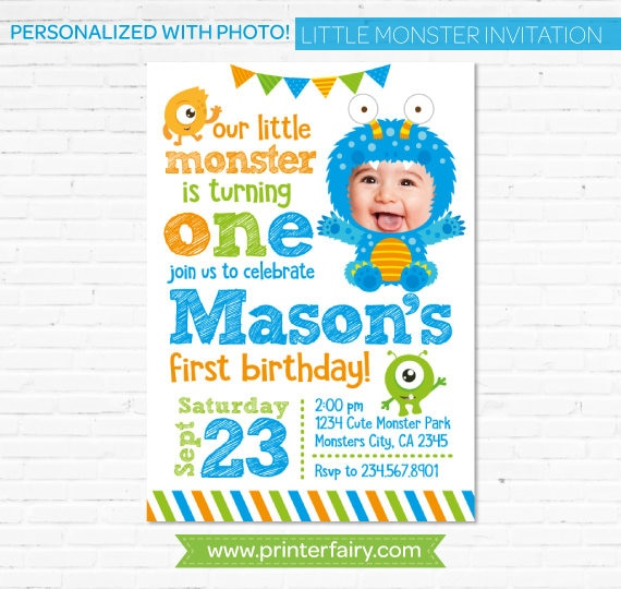 Little Monster Birthday Invitation Personalized with your baby