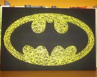 Cadena hecha a mano, arte de uñas, señal de Batman, decoración de la pared
