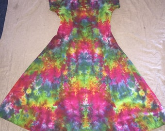 6109 Womens L/XL Rayon Button Front Short Sleeve Dress