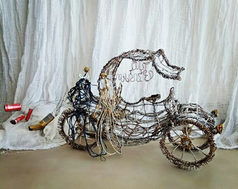 Parents of the bride gift Wedding decor Vintage inspired Car Wire sculpture Just Married Wedding gift Couple Living room decor Soulmates