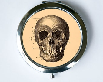 Skull Compact Mirror Pocket Mirror gothic psychobilly anatomy