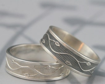 Ivy Vine Band--Solid Sterling Silver Wide Flat Edge Band with Modern Edge--Lines and Leaf Patterned Wedding Band--Made to Size Wedding Ring