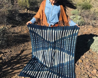 "Stripes & Diamonds Tie Dye Vintage African Mud Cloth, 43 x 61"" / Bogolanfini Blanket from Mali, West Africa Textiles, Bohemian, Home Decor"