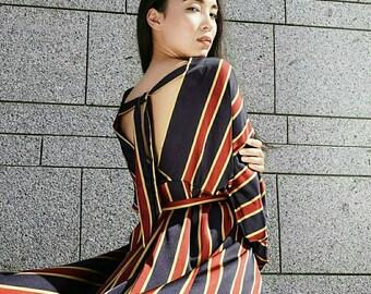 Airy summer gown, silk dress, maxi dress, striped dress