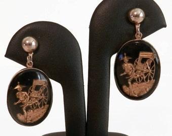 Vintage Reverse Carved Glass Asian Rickshaw Screw Back Style Dangle Earrings - Vintage Earrings, Vintage Reverse Carved Jewelry