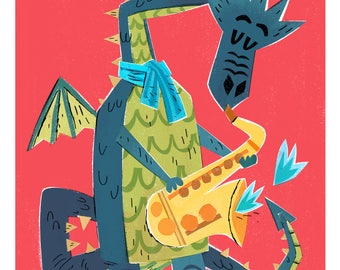 Saxaphone Dragon Print / The Fire Starters/ Musical Dragons/ Dragon Art