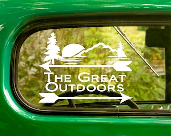 2 The Great Outdoors Decals, Wilderness Decal, Outdoors Decal, Wilderness Sticker, Vinyl Sticker, Car Decal, Laptop Sticker, Vinyl Decal