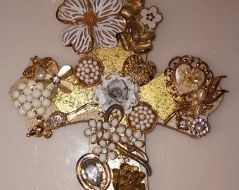 Gold white jeweled cross wall hanging