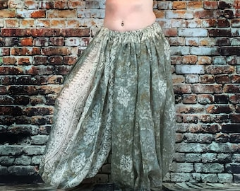 Dusty green and cream/silk harem pants for belly dance/tribal/renaissance fair/ gypsy/ bohemian