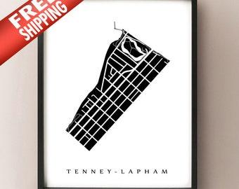 Tenney-Lapham Map - Madison, WI Neighbourhood Art Print