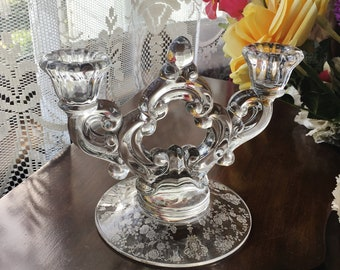 Vintage Cambridge Crystal Rose Point Pattern Etched Clear Key Hole Double 2 Lite Candlestick Holder 2 Arm Candleholder Two Arm Candle Holder