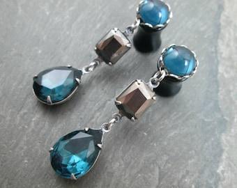 Dangle Plugs - 10g - 8g - 6g - 4g - 2g - 0g - Wedding Plugs - Prom Gauges - Plug Earrings - Blue and Grey Rhinestone