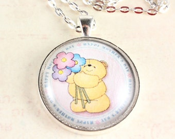 Mother's Day Necklace, Round Glass Tile Pendant, Gift for Mom