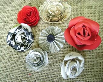 7 mini roses embellishments for scrapbooks cards and wedding decor