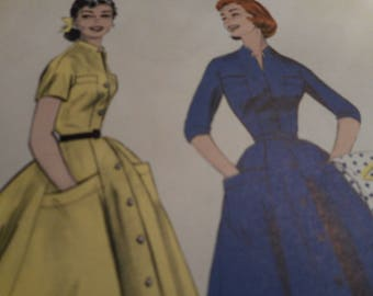 Vintage 1950's Butterick 7237 Wide Skirted Coat Dress: Gored Skirt Sewing Pattern Size 14 Bust 32