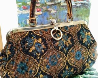 Vintage Carpet bag with bamboo handle 1940s