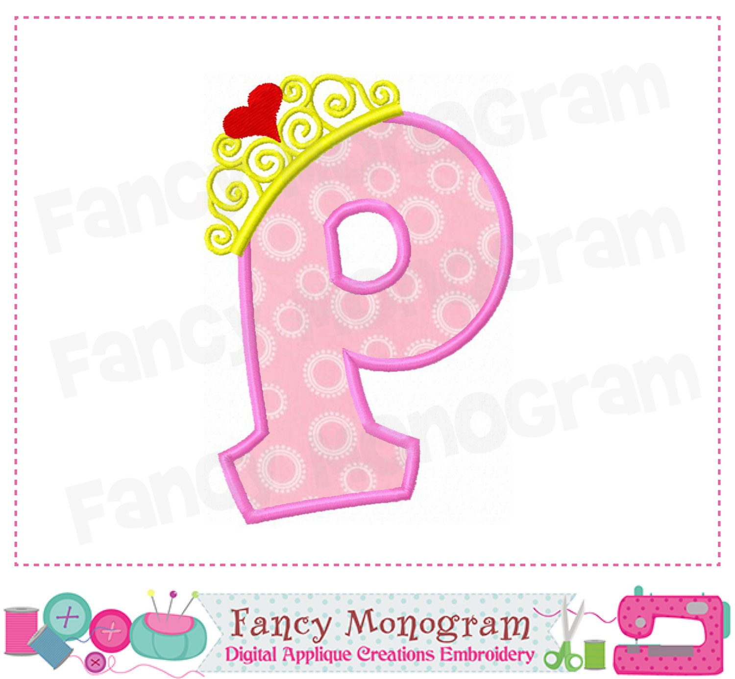 Pincess crown monogram p applique letter p embroidery for Embroidery office design version 9
