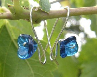 Blue Glass Flower Earrings, Long Stem Aqua Teal Earrings, Gift for Her, Czech Glass Beads, Flower Jewelry, Women, Floral Earrings
