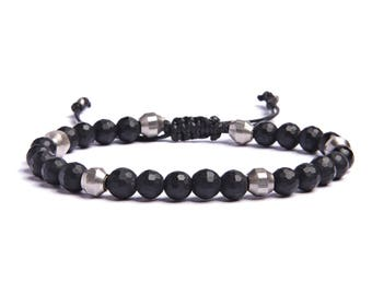 Black onyx Men's Bracelet - Beaded bracelets for Men - Onyx beads and silver beads strung in black faux leather - Gifts for Him - For Dad.