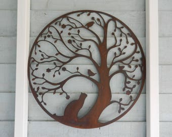Tree Of Life Wall Decor 60cm / Rusty Metal Wall Art / Garden Gift/ Cat And  Bird Garden Decoration / Garden Wall Decor / Tree Sculpture