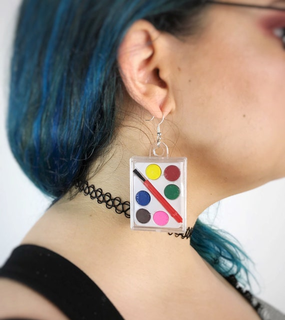 Tiny Paint Palette Statement Earrings Handmade Fun Toy Earrings - Colorful Dangly Painter/ Artist Earrings - Crafter Paint Rainbow Jewelry