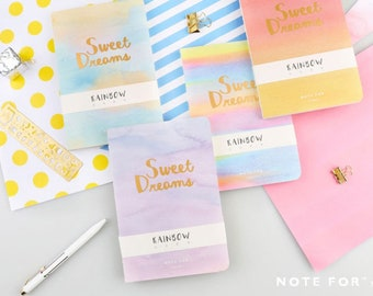 Rainbow Watercolor A5 Hardcover Blank Notebook 'Sweet Dreams' Foil Letters