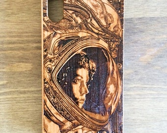 Galaxy S7 Case, S7 Edge Case, iPhone 6S Plus Case, Galaxy S8 Case, Iphone X Case, Xenomorph Alien Wooden Phone Case Engraved, Ellen Ripley