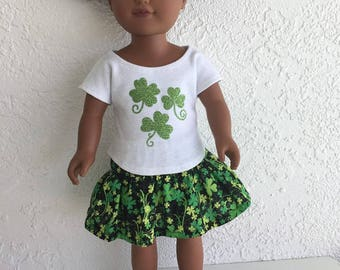 18 inch Doll Clothes Shamrock Print Skirt and Top fits American Girl Doll
