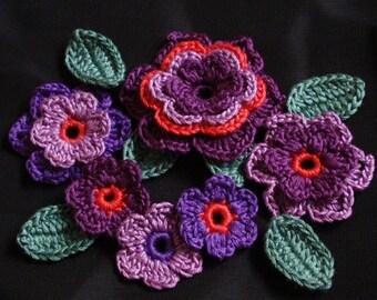 Crochet Flowers With Leaves In Puurple, Dark orange,  Plum,  Green YH-174