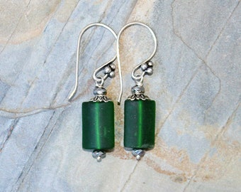 Green Sea Glass Earrings, Silver Wire Wrapped Earrings, Glass Earrings, Handmade Earrings, Bohemian Earrings, Green Earrings, Green Glass