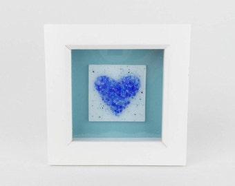 Blue glass heart, small fused glass tile, hand made framed glass art, blue love heart