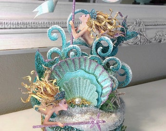 Goddess of the Sea Mermaid Cake Topper, Centerpiece, Keepsake Box, Art Piece