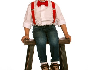 Red Suspenders & Red Bow Tie for Baby Toddler Boy Men