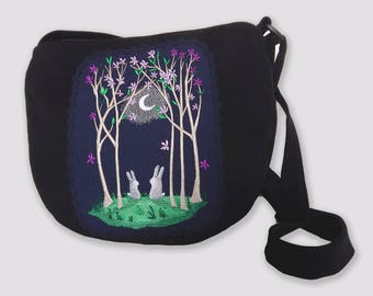 Crossbody Bag with Rabbits, Rabbit, Bunny Lovers, Embroidered Purse, White Rabbit, White Bunny, Embroidered Crossbody, Woman Embroidered Bag