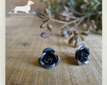 Rustic Rose. Post Earrings -- (Flower, Studs, Silver, Small, Romantic, Feminine, Shabby Chic, Vintage Style, Cute, Bridesmaid Gift Under 10)