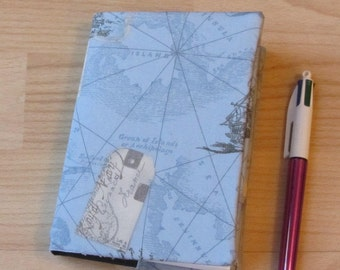Journal with reversible Tim Holtz fabric cover. With Seawhite hardback sketchbook. A6. notebook, art journal, memory book
