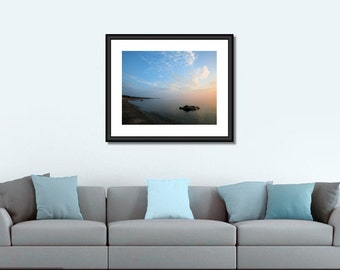 Sunrise Photography- Northern Mist, Coastal wall art, large format photo, beach photography, foggy beach, peaceful, calming, blue, clouds