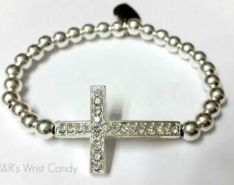 Beaded Bracelet, Silver, Cross Bracelet, Minimalist, Faith, Stretch Bracelet, Handmade, Custom, Beaded Jewelry