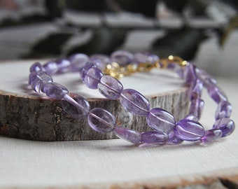 Amethyst Choker, Amethyst Necklace, Amethyst Jewelry, Purple Necklace, Purple Jewelry, Short Necklace, Purple Stone Necklace, Stone Necklace