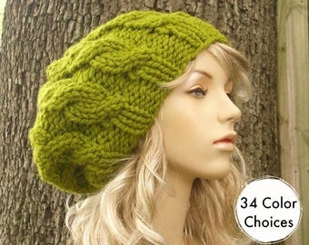 Knit Hat Womens Hat Slouchy Beanie - Cable Beret Hat in Lemongrass Green Knit Hat - Green Hat Green Beret - 34 Color Choices