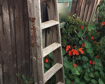Vintage Painter's Ladder 6 Ft. TALL Step Ladder Rustic Garden Decor Primitive Linen Rack Towel Rack Quilt Ladder Plant