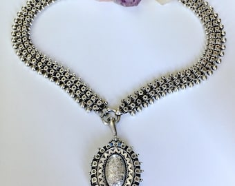 Antique Victorian 1884 bookchain collar thick chain choker and locket solid silver