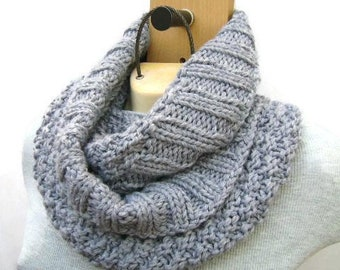 Hand Knit Infinity Scarf. Loop Scarf. Circular Scarf. Blue Scarf. Circle Winter Scarf. Gift for Her.