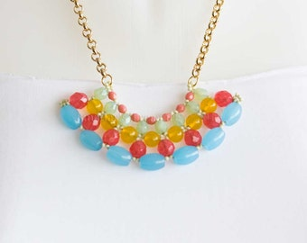 Gold Chain Necklace with Beaded Fan Pendant in Bright Colors of Turquoise, Coral, Red and Mint. Statement Necklace, Colorful Pendant S151