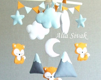 Baby Mobile, Fox woodland mobile, Mountain & Fox mobile, Fox Nursery, Fox Mobile, Fox Baby Mobile, Foxes Crib Mobile, Orange and grey fox