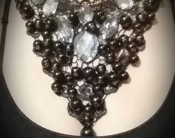Black Lace Bead Rhinestone Bib Necklace