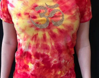 Small Tie Dye Tshirt, Ohm symbol tie dye shirt, unique tie dye, red and yellow tie dye, ohm clothing, festival clothing, unique hippie shirt
