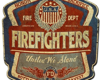 Vintage metal sign,  firefighters bottle label, united we stand, firefighters sign, metal sign man cave, garage sign